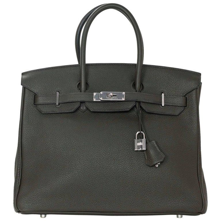 33cbba7ff521 Hermes Vert Bronze Clemence Leather 35cm Birkin Bag with Box   Dust Bag