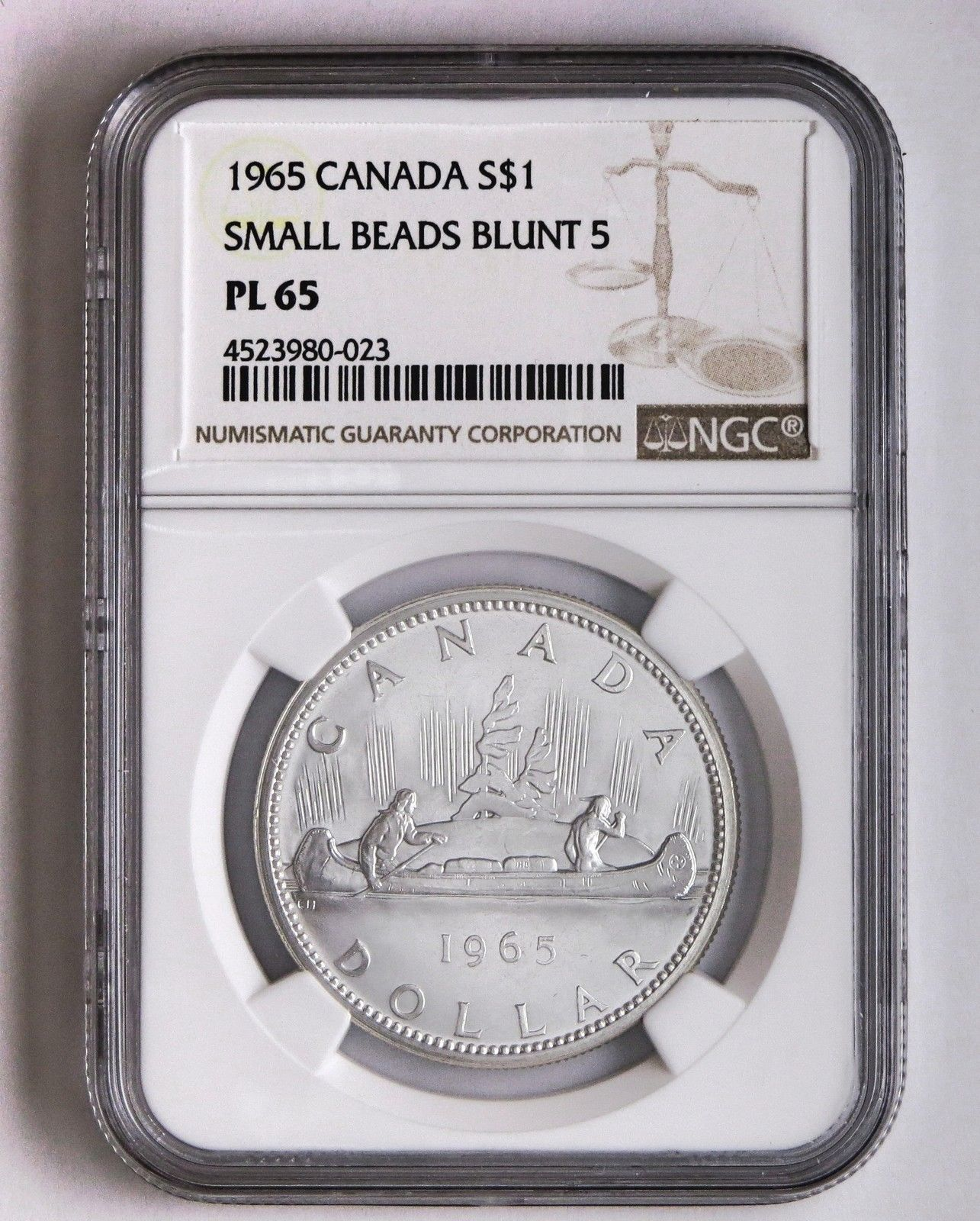 Item specifics     Certification Number:   NGC   Country/Region of Manufacture:   Canada     Certification:   NGC      1965 S$1 Canada Silver Dollar Small Beads Blunt Five NGC PL 65  Price : $22.99  Ends...