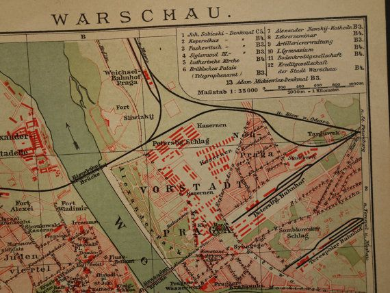 Warsaw old map 1910 original antique city plan of warsaw poland warsaw old map 1910 original antique city plan by vintageoldmaps gumiabroncs
