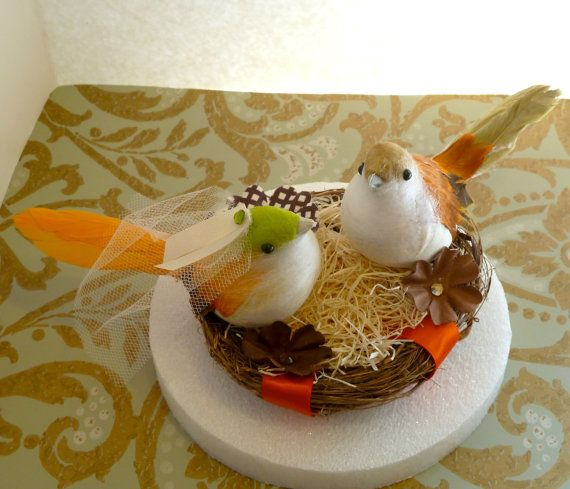 Hey, I found this really awesome Etsy listing at http://www.etsy.com/listing/150281373/oragne-and-brown-bird-nest-wedding-cake