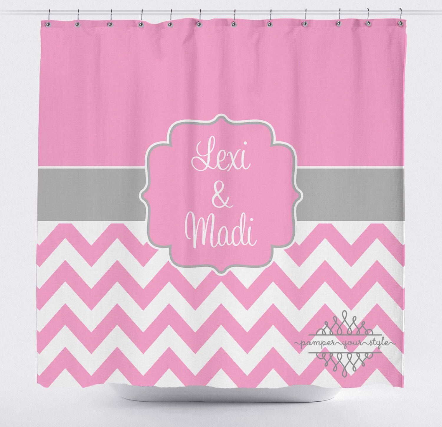 Custom Designed Chevron Gray And Pink Shower Curtain Boys Girls Bathroom Personalized Create Design Your Own