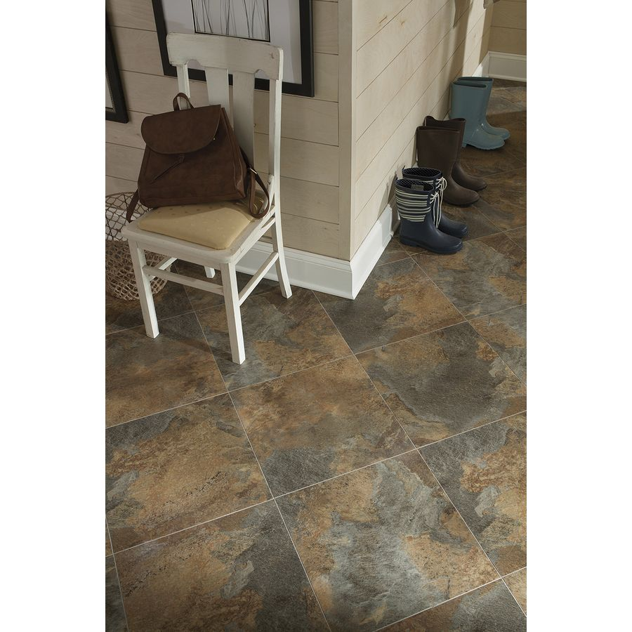 Shop Stainmaster 18 In X 18 In Groutable Copper Peel And Stick Slate Luxury Vinyl Tile At Lowes Com Luxury Vinyl Tile Vinyl Tile Luxury Vinyl