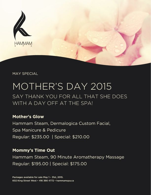 Mother 39 s day spa package hammam spa amotherworld blog for 3 day spa