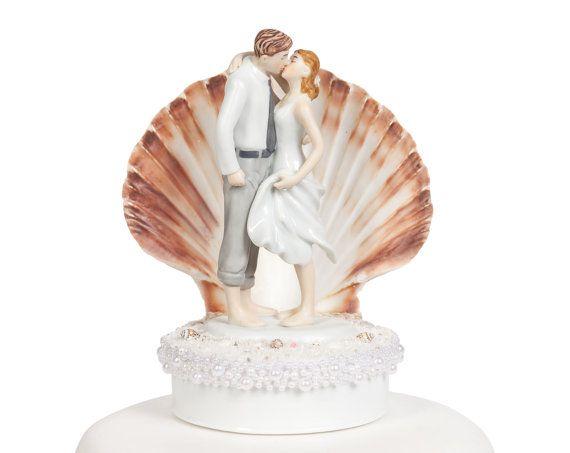 Beach Get Away Shell Wedding Cake Topper  by weddingcollectibles