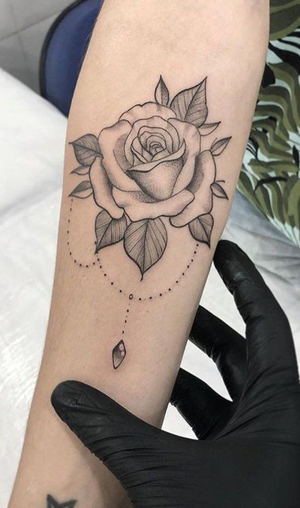 Photo of Beautiful Rose Outline Chandelier Forearm Tattoo Ideas for Women – hermosa rosa … – Galena U.