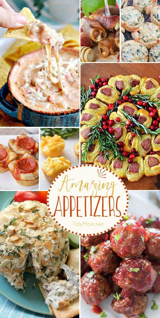 Whether you are hosting a party or celebrating at someone else's house, you'll be party ready for the holidays, New Years Eve, game day or Super Bowl with these Amazing Appetizer Recipes. Get the recipes at TidyMom.net
