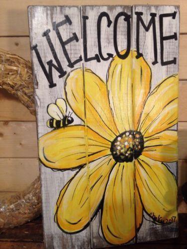 Welcome Daisy Primitive Rustic Pallet Porch Country Handmade Door Sunflower Bee Home Garden Home Deco Handmade Home Decor Pallet Painting Painting On Wood