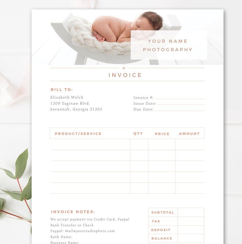 Invoice Template For Photographers Photography Invoice Receipt Form In Adobe Photoshop Ms Word Business Forms Instant Download Invoice Template Photography Invoice Photography Invoice Template