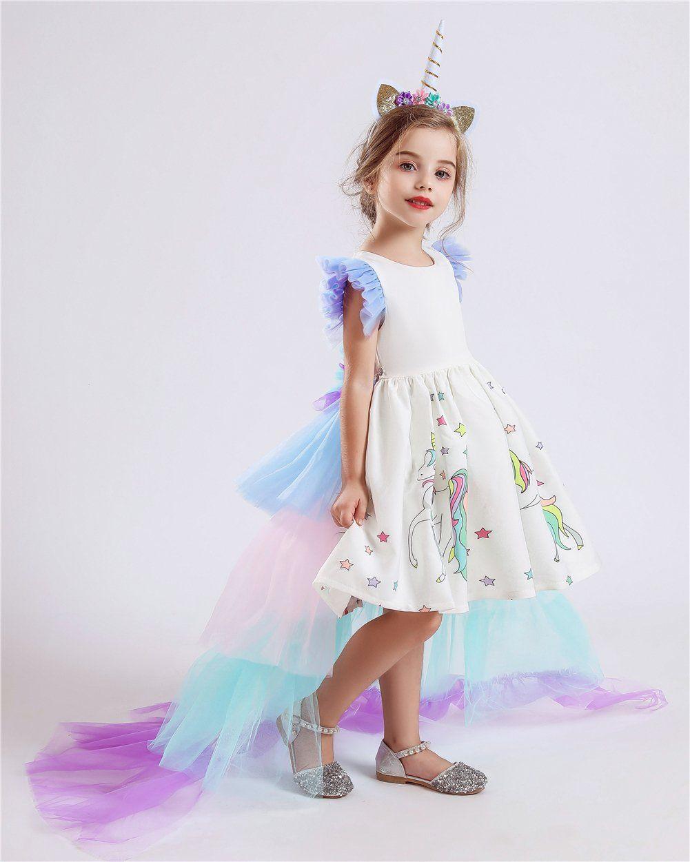 2018 Kids Girls Unicorn  Fancy Dress Party Birthday Dress O55