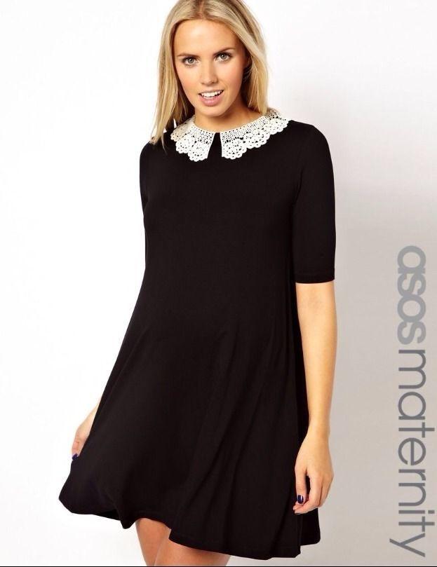 Asos Black Maternity Dress Swing Dress With White Crochet Collar