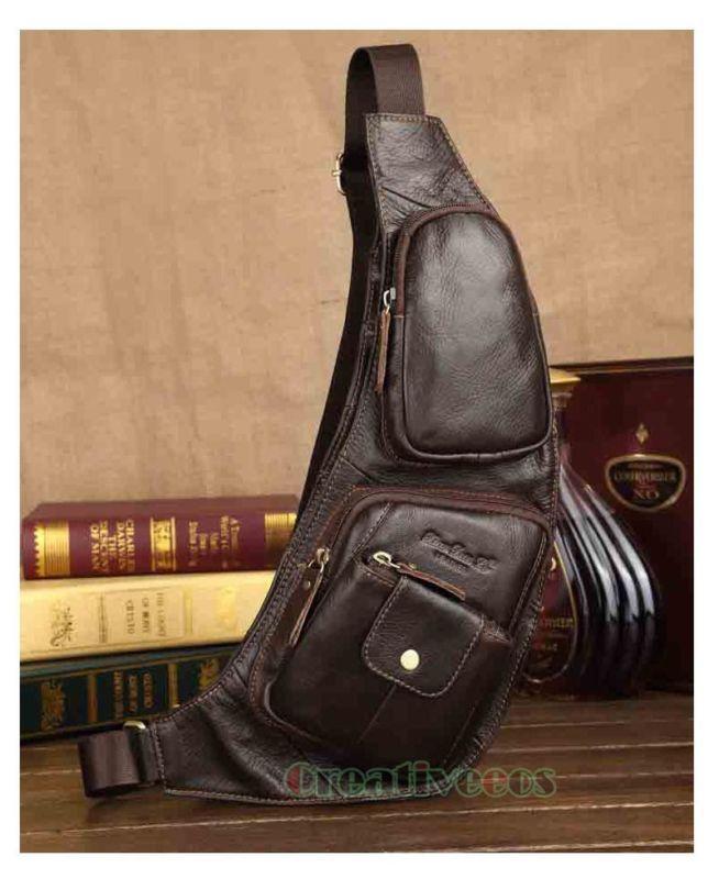 Couro genuíno homens Vintage Viagem Sling ombro carteiro Equitação peito Bolsa Novo
