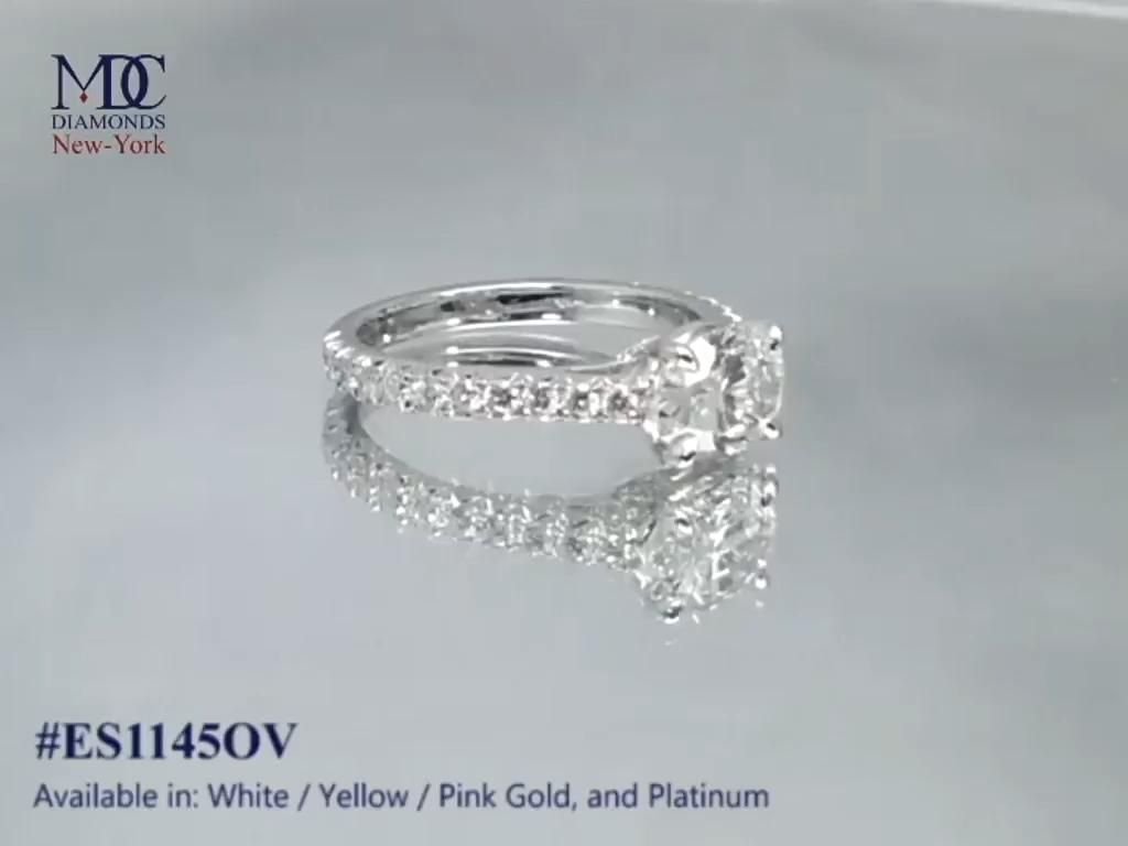 Oval Diamond Horizontal Engagement Ring Pave Galle
