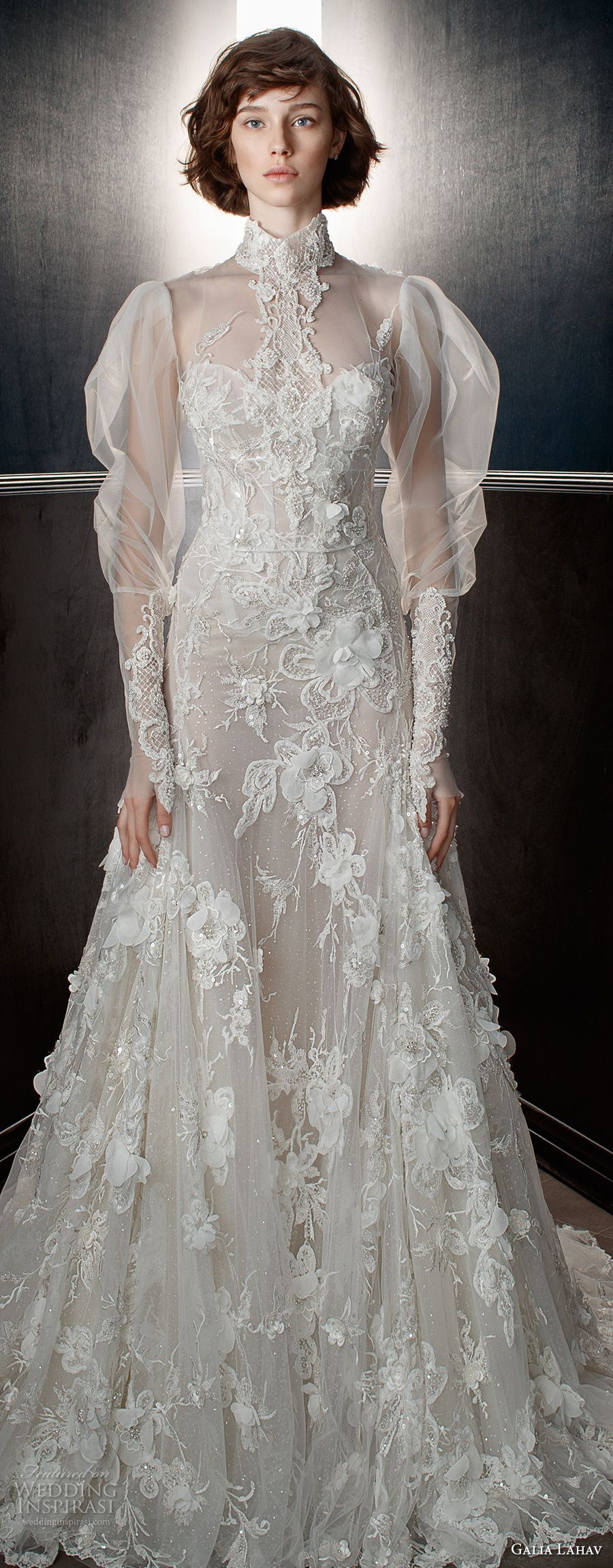 Galia lahav spring bridal puffed long sleeves high neck