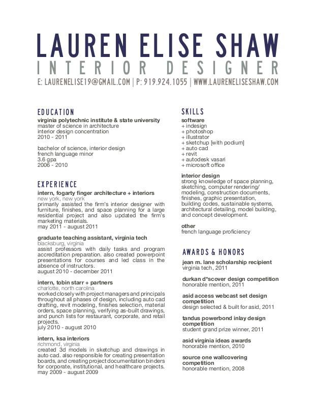 Resume- Title block Resume/Portfolio Ideas Interior design