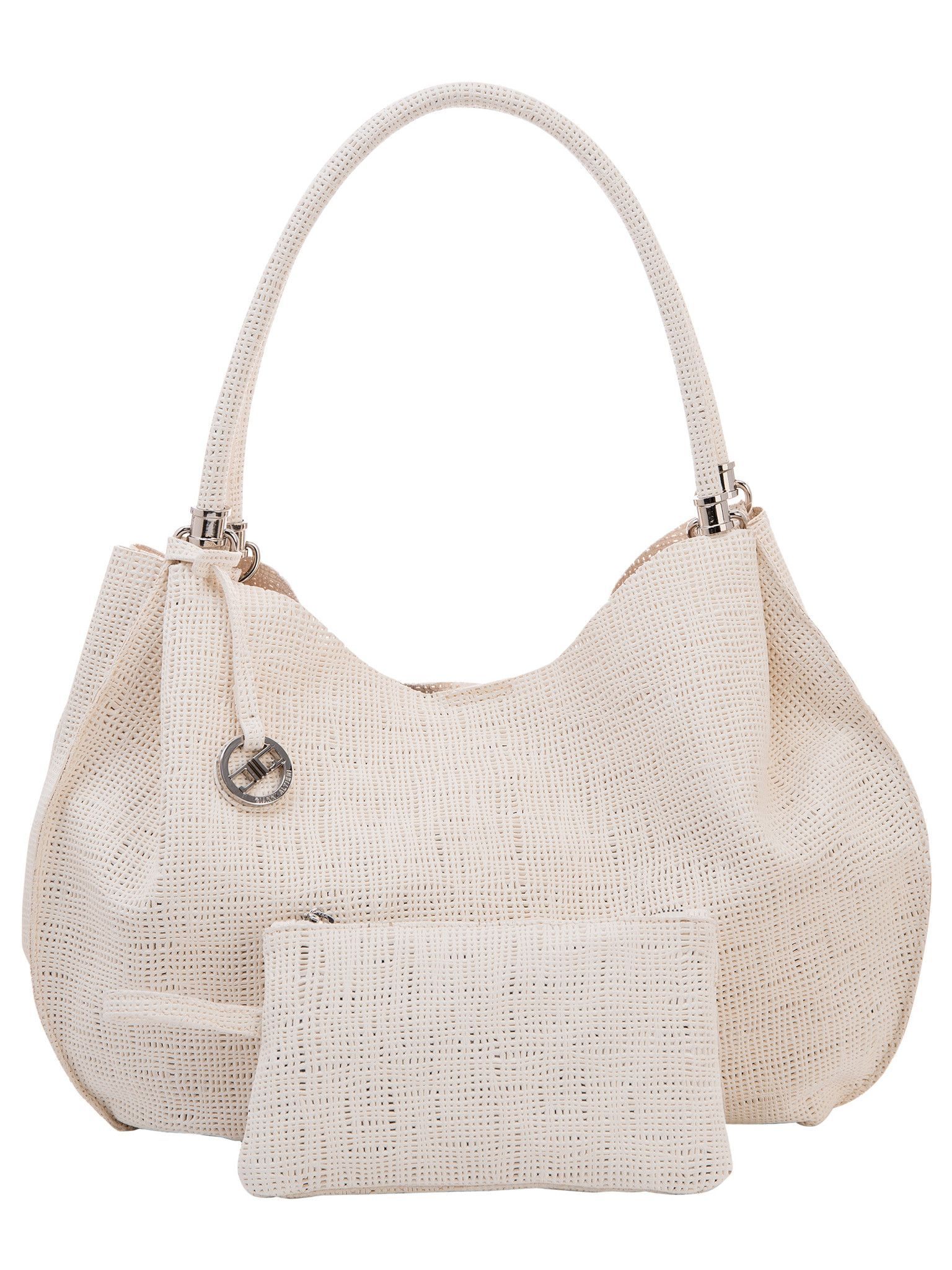 9b7f0b888fef White Italian Leather Hobo Handbag with separate Pouch. A beautiful and  unique bag made from perforated Italian leather in a fabulous canvas  pattern.