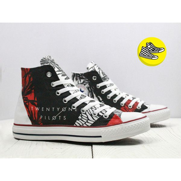 e5e4d570048858 Twenty One Pilots inspired custom converse sneakers handmade design ( 90) ❤  liked on Polyvore featuring accessories