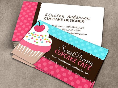 Cute Cupcake Baker Business Card Template Business Card - Cute business cards templates free