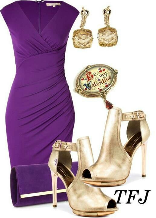 purple dress with Gold shoes   Fashion