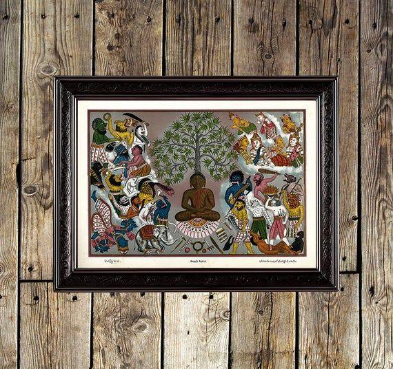 Buddha, demons, Mara, buddhist, buddhism, Buddha decor, Buddha print, meditation, Buddha meditation, buddhist poster, buddhism painting, 345 #buddhadecor