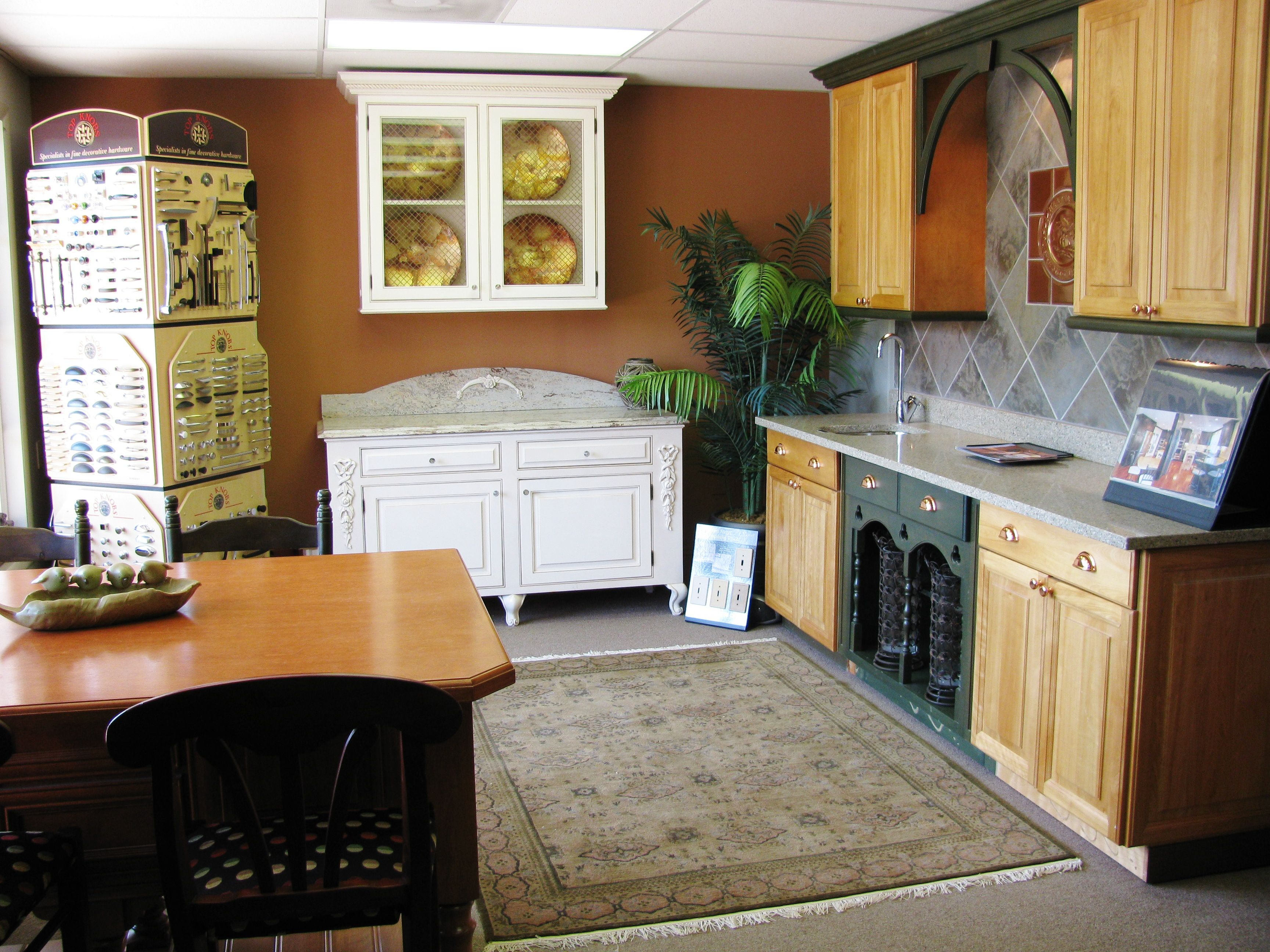 Red Birch Cabinets, Painted Cabinets, Wood Countertop ...