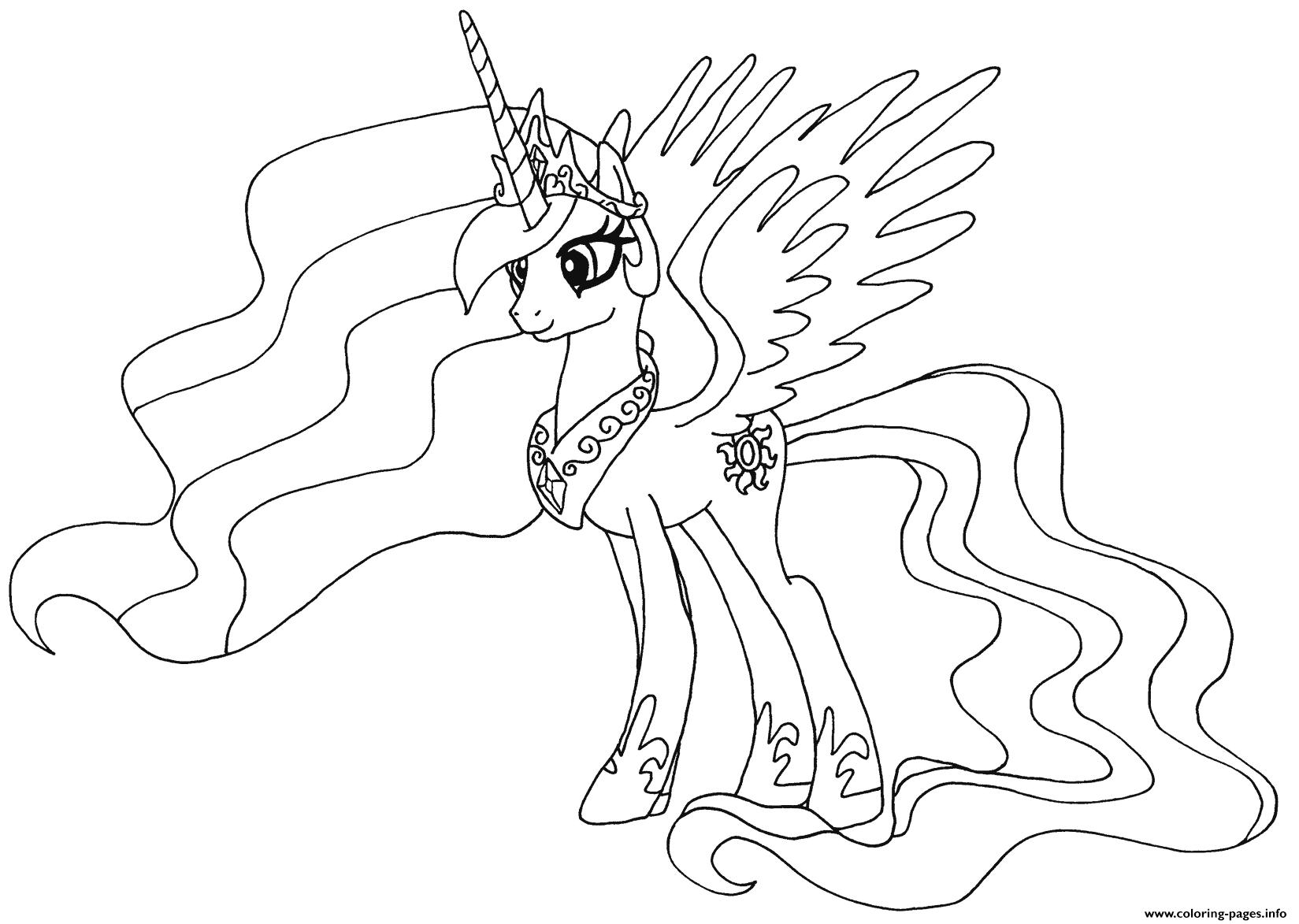 Print Princess Celestia My Little Pony Coloring Pages My Little Pony Coloring My Little Pony Printable Cartoon Coloring Pages