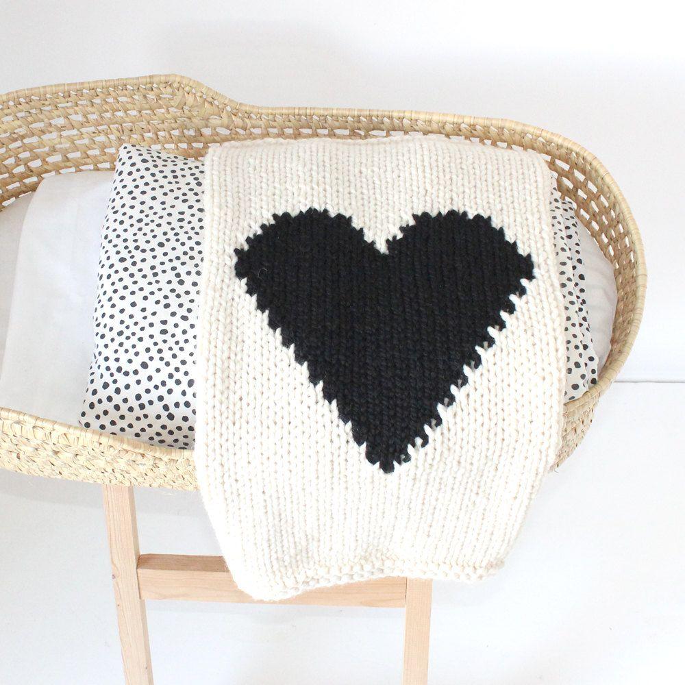 Heart Baby Blanket Cream and Black Hand Knit for Bassinet Stroller ...