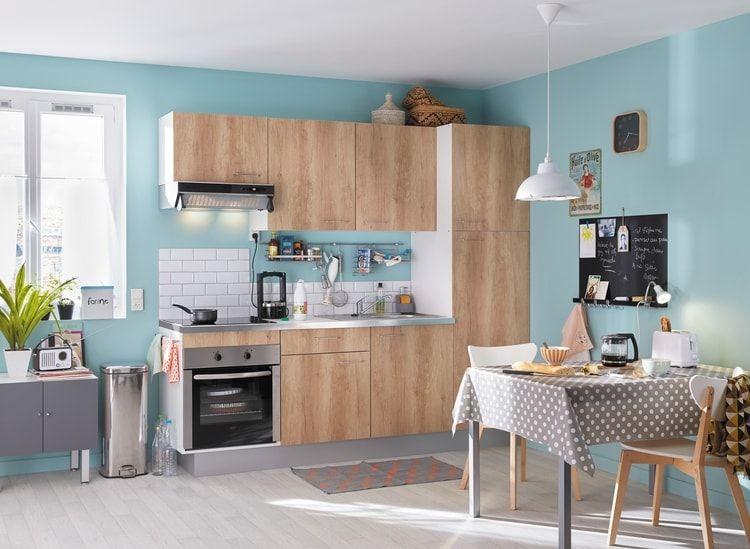 Cuisine décor chêne clair de Leroy Merlin Les cuisines par marque - Peindre Armoire De Cuisine En Chene