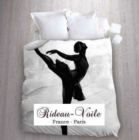 fille housse de couette tissu imprim ballerine danseuse toile noir blanc sticker chambre. Black Bedroom Furniture Sets. Home Design Ideas