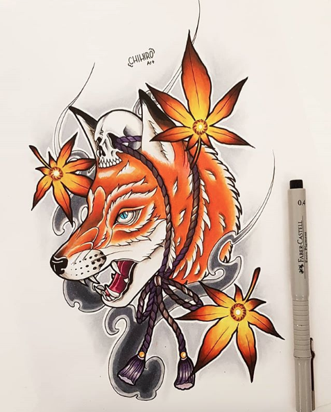 Neo Japanese Fox Japanese Fox Traditional Tattoo Sketches Tattoo Design Drawings