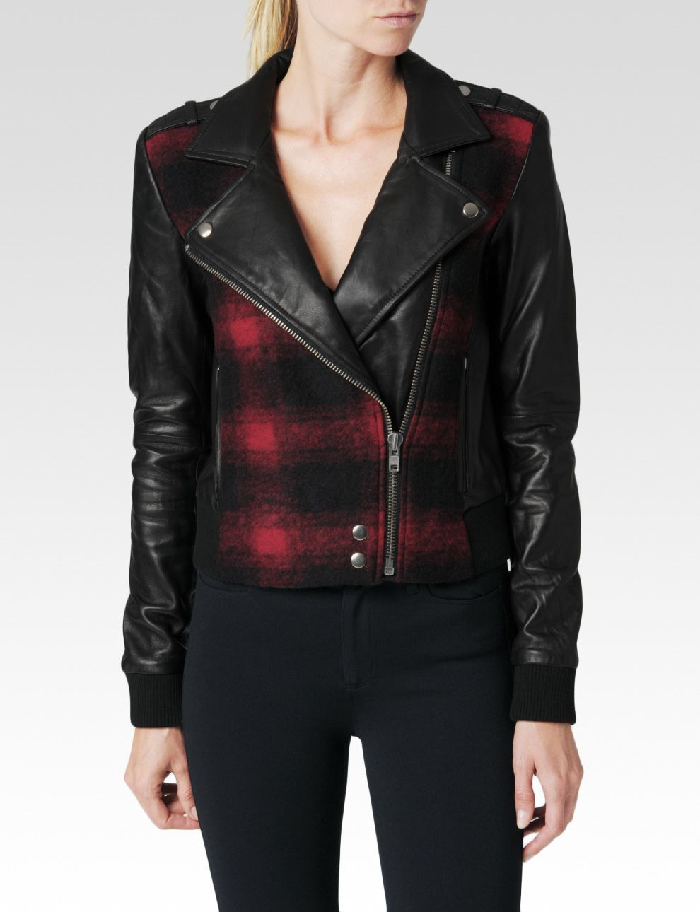 Paige Shelley Bomber Leather Mix in Red (Red & Black Plaid)