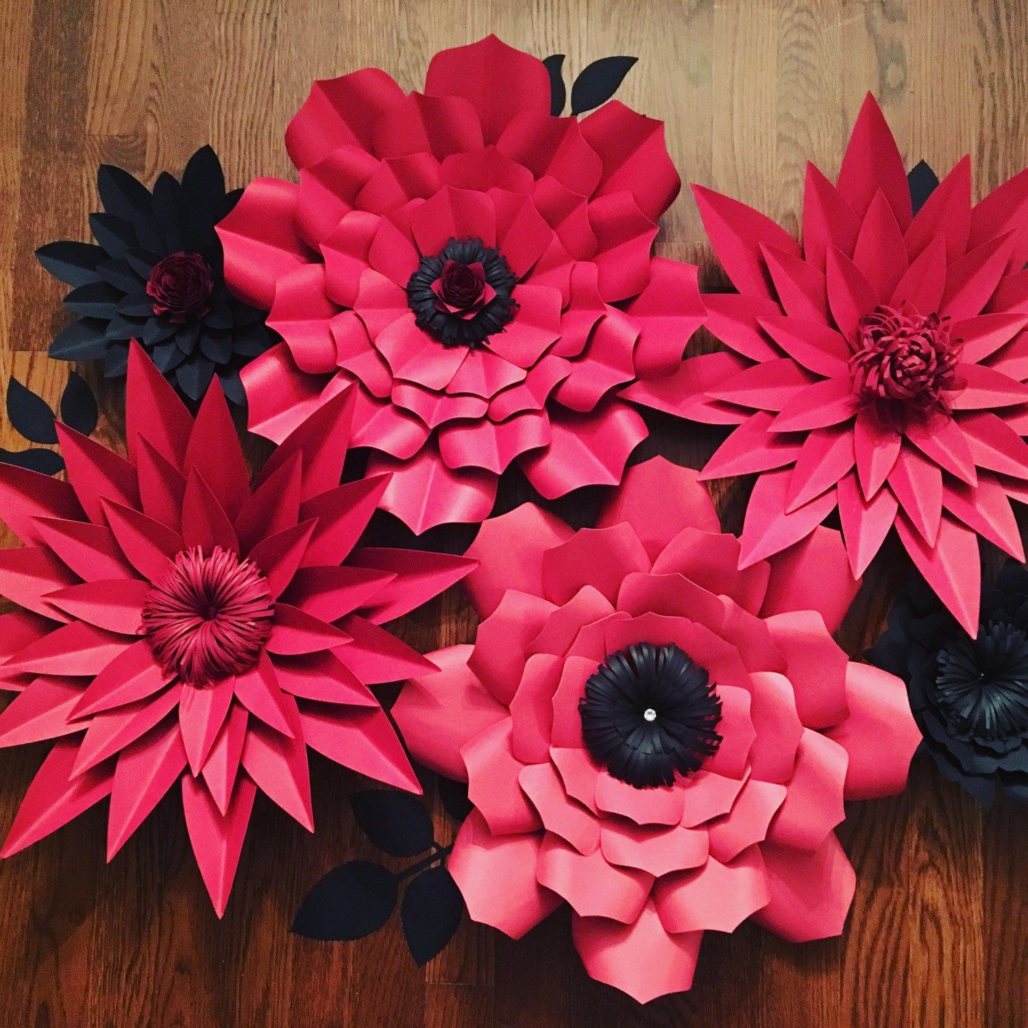 Giant large paper flowers for back drop customizable for wedding etsy red and black giant paper flowers mightylinksfo