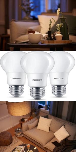 Philips Led Lampe Ersetzt 60w Eek A E27 Warmweiss 2700k 806 Lumen Matt Dreierpack Energieklasse A Innenbeleuchtung Lampen Led