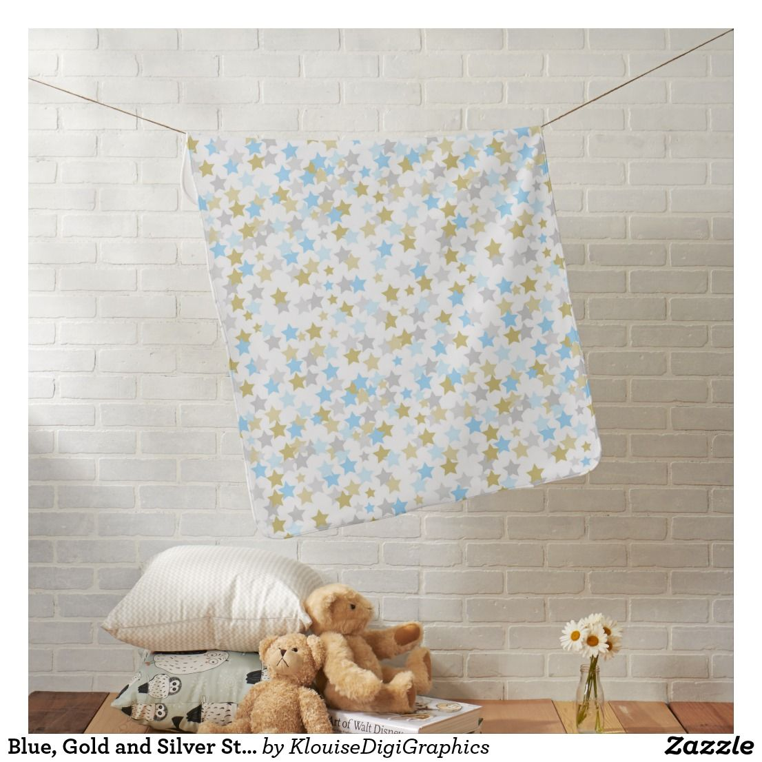 Blue, Gold and Silver Star Confetti Baby Blanket Zazzle