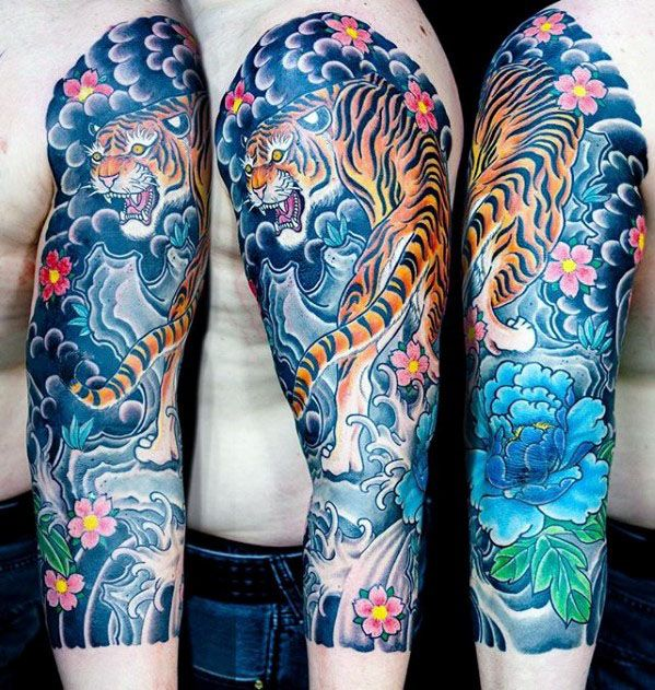 60 Japanese Half Sleeve Tattoos For Men Manly Design Ideas Tiger Tattoo Sleeve Half Sleeve Tattoos For Guys Half Sleeve Tattoo