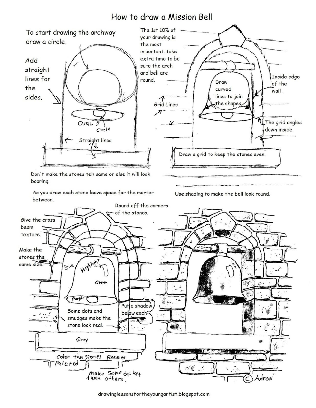How To Draw Worksheets For The Young Artist Printable How To Draw A Mission Bell Drawing