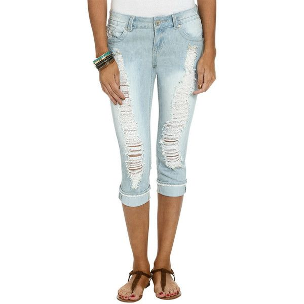 Turn Cuff Denim Capris ($30) ❤ liked on Polyvore