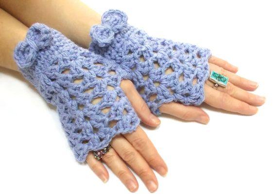 Fingerless Gloves Lilac Crochet Fingerless Gloves Tie Gloves