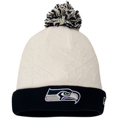 7fa3f4c2788 New Era Seattle Seahawks Women s White College Navy Snow Crown Cuffed Knit  Hat