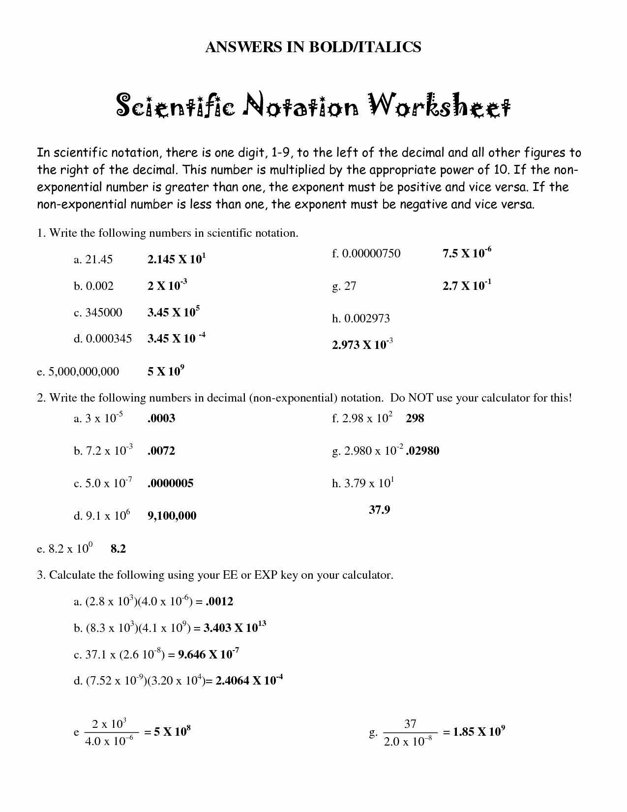 50 Scientific Notation Worksheet With Answers In