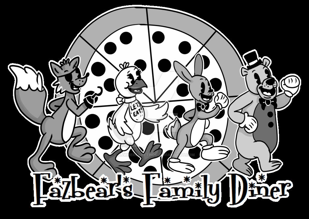 Fazbear S Family Diner Logo By Ajwhereartthou On Deviantart Diner Logo Black And White Cartoon Fnaf Art