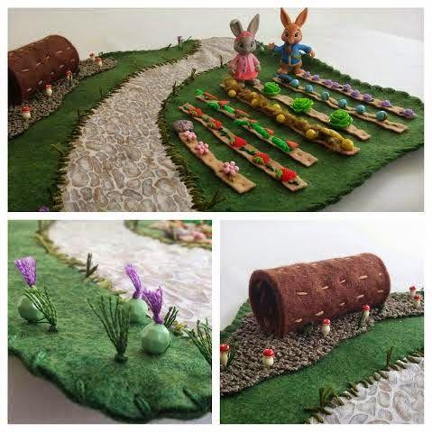 Felt Wool Whimsical Rainbow Garden Play Mat For Children Felt Play Mat Felt Diy Sewing Toys