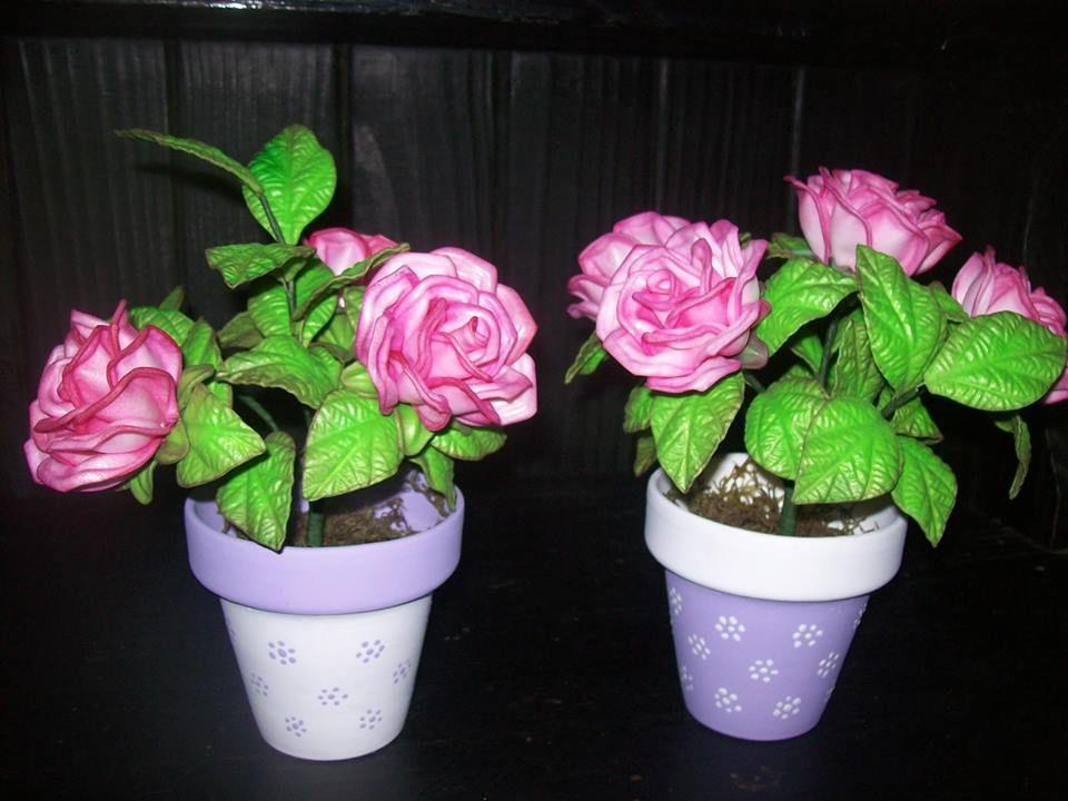 flores en goma eva con macetitas decoradas | flores | pinterest