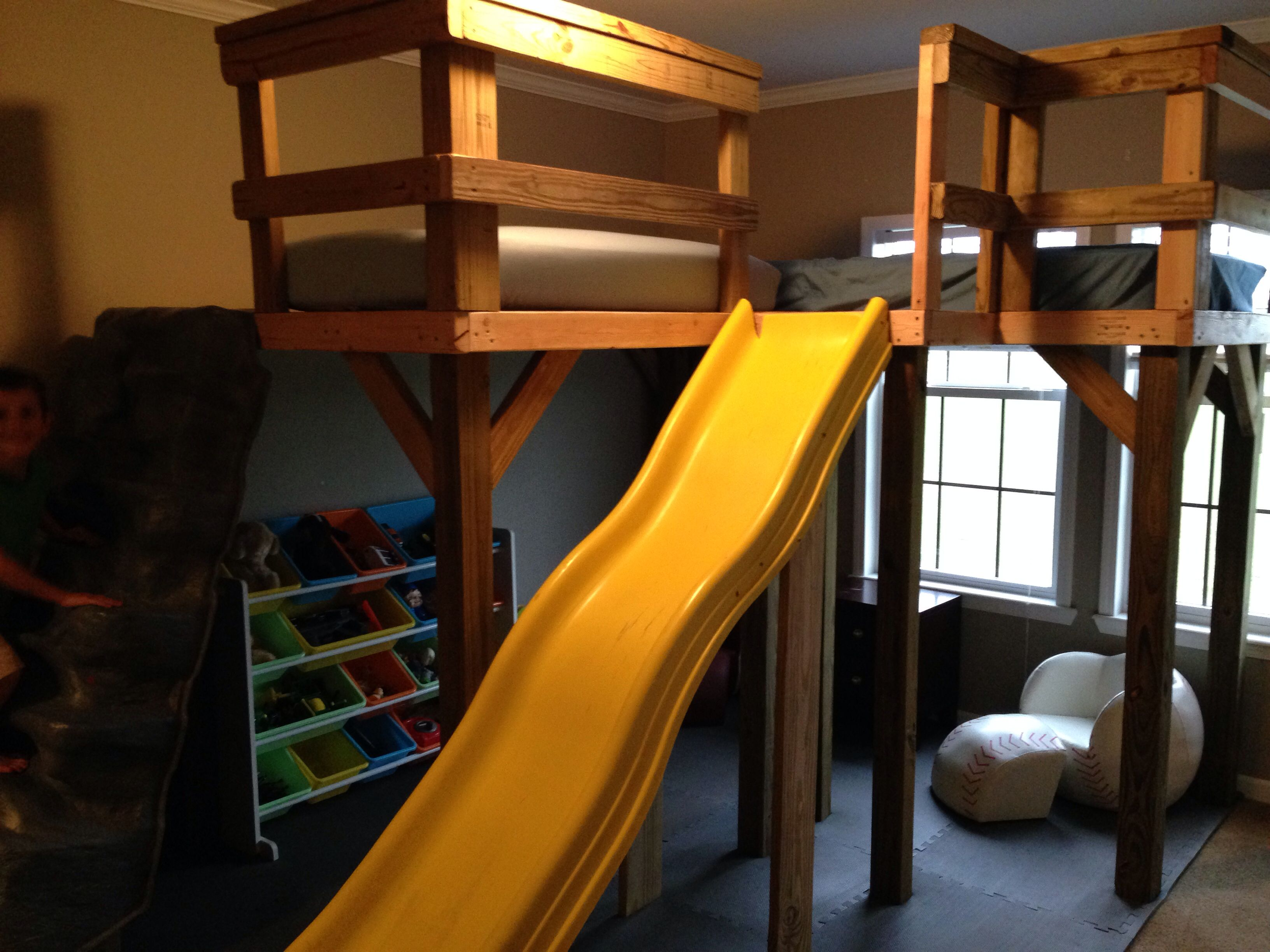 Boys L shaped loft bed with slide and rock wall ;) (With