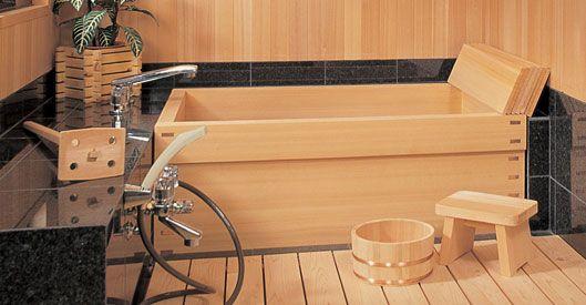 Furo-oké, baignoire japonaise en bois | Salle de bain béton ciré ...