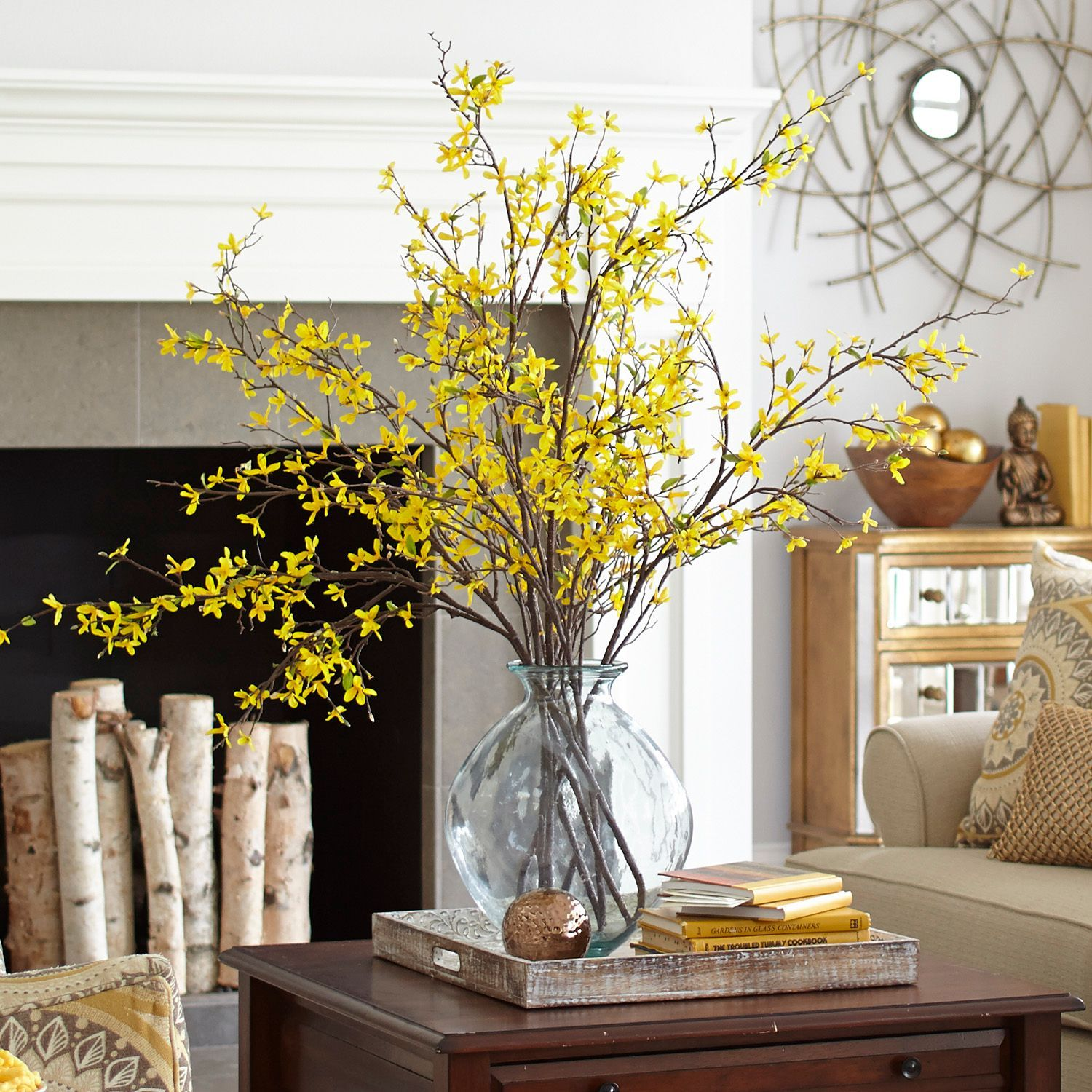 Yellow Faux Forsythia Branch Decor Branch Decor Dining Room