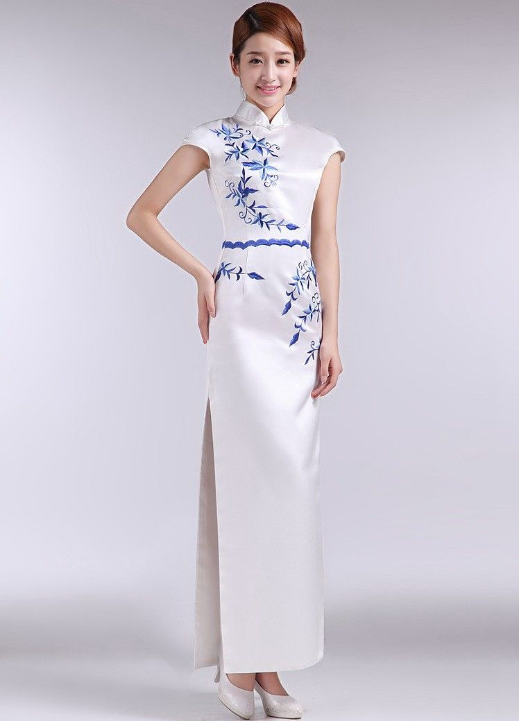 c985625cb0 White Taffeta Blue Floral Embroidery Sheath silhouette Chinese Style Prom  Dress - iDreamMart.com