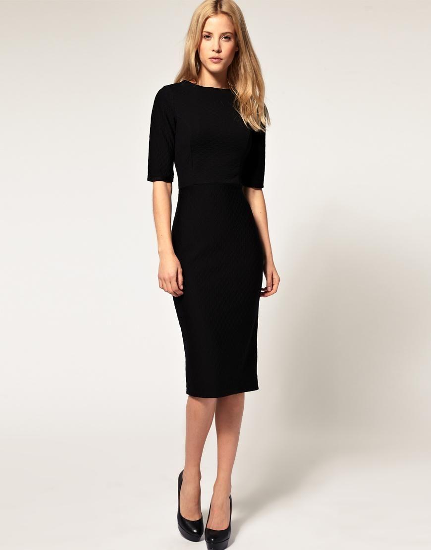 Asos asos pencil dress in quilted ponti at asos dresses and