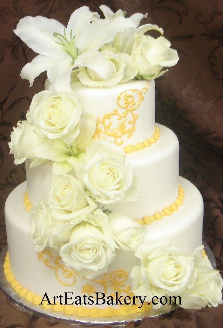 Round three tier custom wedding cake designs and pictures - Wedding ...