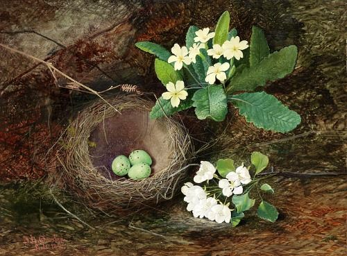 John Atkinson Grimshaw Thrush's Nest, Primroses and Pear Blossom 1862