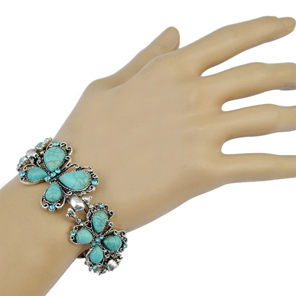 Click to buy ucuc bohemian style silver color butterfly crystal green